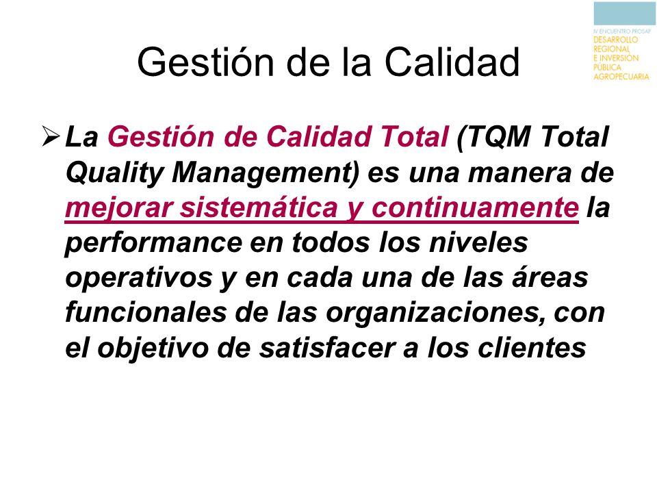 Gestión de la Calidad La Gestión de Calidad Total (TQM Total Quality Management) es una manera de mejorar sistemática y continuamente la performance e
