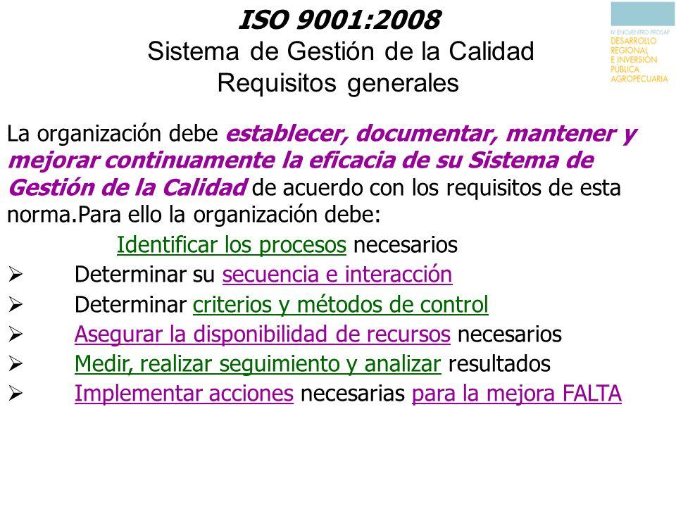 ISO 9001:2008 Sistema de Gestión de la Calidad Requisitos generales La organización debe establecer, documentar, mantener y mejorar continuamente la e
