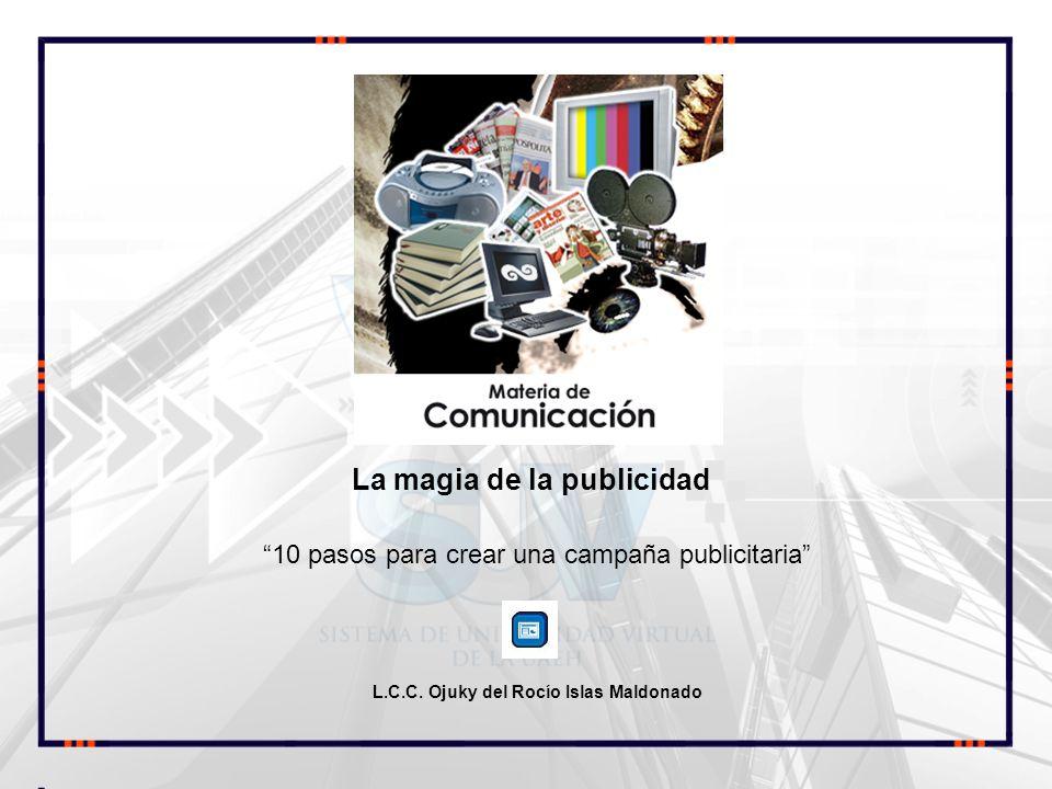 10 pasos para crear una campaña publicitaria L.C.C. Ojuky del Rocío Islas Maldonado La magia de la publicidad COMUNICACIÓN