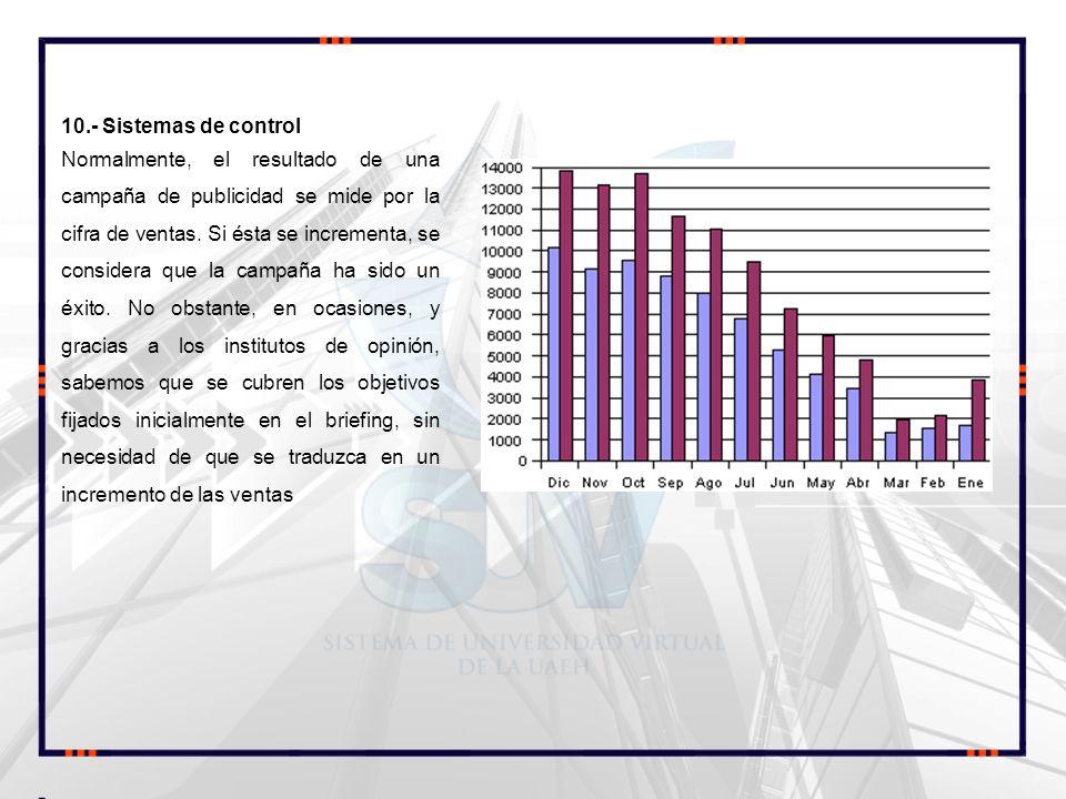 10.- Sistemas de control Normalmente, el resultado de una campaña de publicidad se mide por la cifra de ventas. Si ésta se incrementa, se considera qu