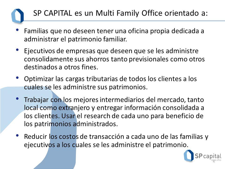 SP CAPITAL es un Multi Family Office orientado a: Familias que no deseen tener una oficina propia dedicada a administrar el patrimonio familiar.