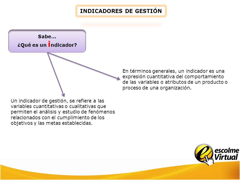 INDICADORES DE GESTIÓN En términos generales, un indicador es una expresión cuantitativa del comportamiento de las variables o atributos de un product