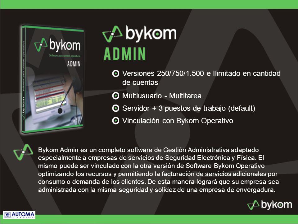 Versiones 250/750/1.500 e Ilimitado en cantidad de cuentas Multiusuario - Multitarea Servidor + 3 puestos de trabajo (default) Vinculación con Bykom O