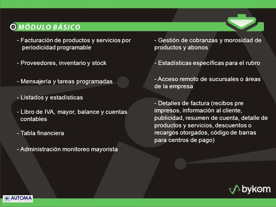 - Facturación de productos y servicios por periodicidad programable - Proveedores, inventario y stock - Mensajería y tareas programadas - Listados y e