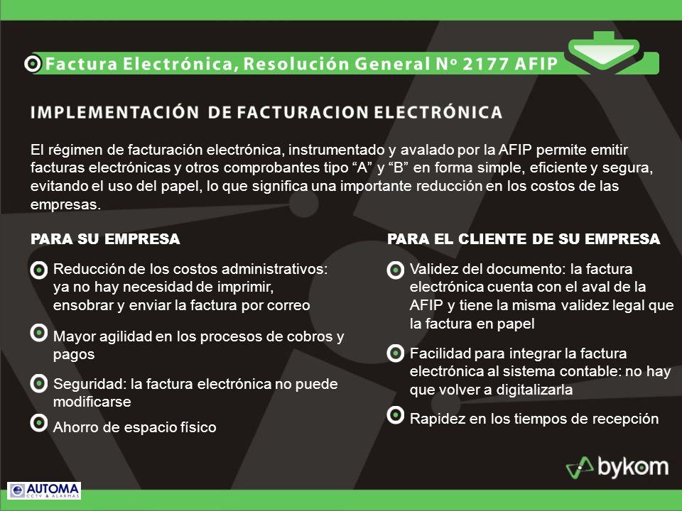 El régimen de facturación electrónica, instrumentado y avalado por la AFIP permite emitir facturas electrónicas y otros comprobantes tipo A y B en for