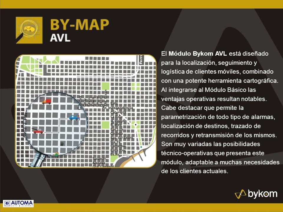 El Módulo Bykom AVL está diseñado para la localización, seguimiento y logística de clientes móviles, combinado con una potente herramienta cartográfic