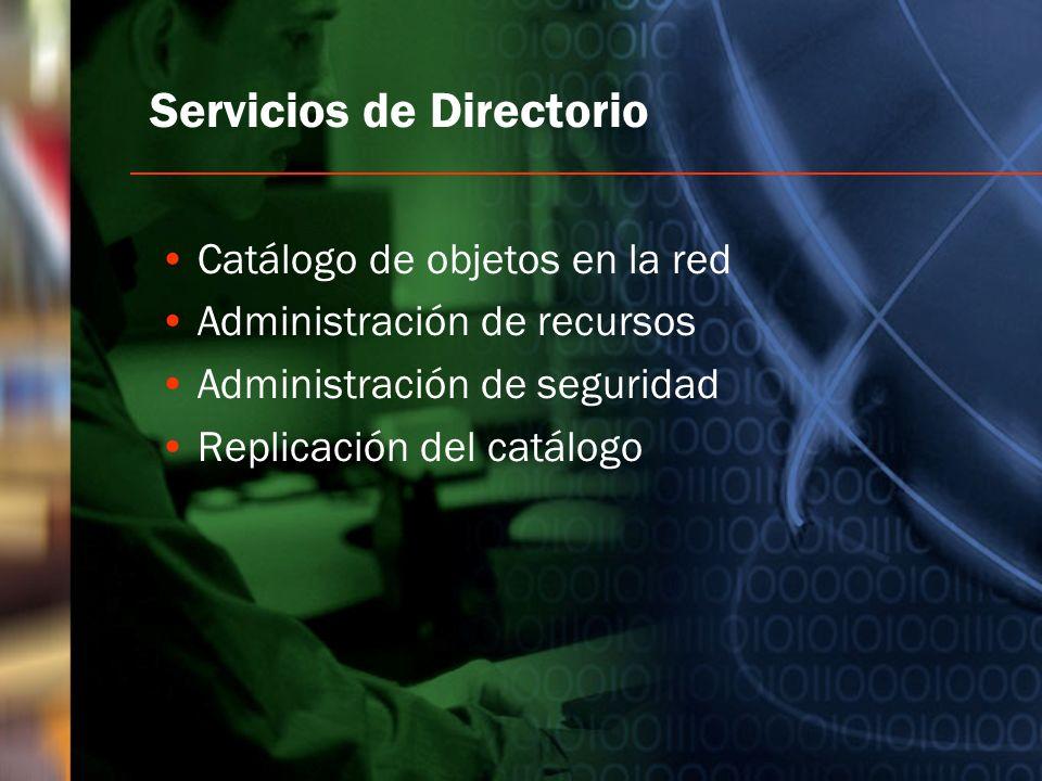 Servicios de Directorio Catálogo de objetos en la red Administración de recursos Administración de seguridad Replicación del catálogo