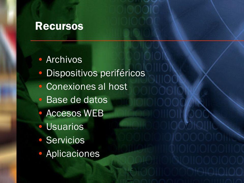 Recursos Archivos Dispositivos periféricos Conexiones al host Base de datos Accesos WEB Usuarios Servicios Aplicaciones
