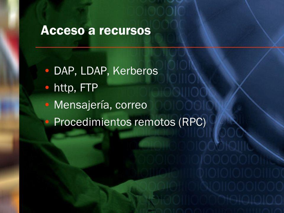 Acceso a recursos DAP, LDAP, Kerberos http, FTP Mensajería, correo Procedimientos remotos (RPC)