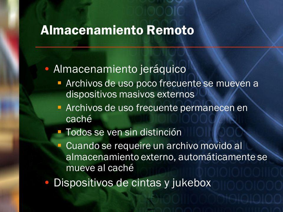 Almacenamiento Remoto Almacenamiento jeráquico Archivos de uso poco frecuente se mueven a dispositivos masivos externos Archivos de uso frecuente perm