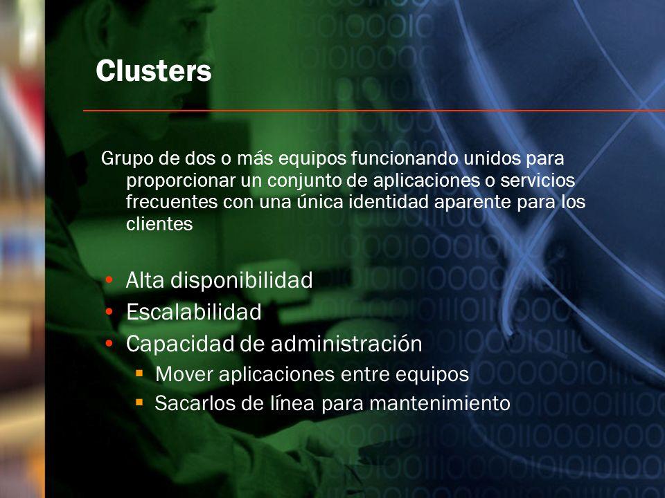 Clusters Grupo de dos o más equipos funcionando unidos para proporcionar un conjunto de aplicaciones o servicios frecuentes con una única identidad ap