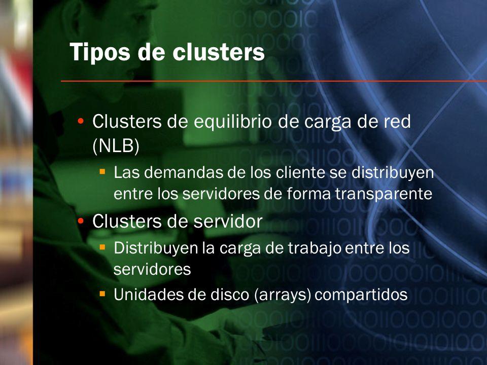 Tipos de clusters Clusters de equilibrio de carga de red (NLB) Las demandas de los cliente se distribuyen entre los servidores de forma transparente C