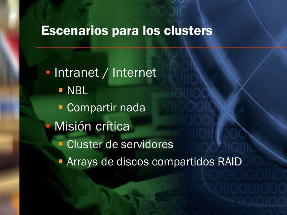 Escenarios para los clusters Intranet / Internet NBL Compartir nada Misión crítica Cluster de servidores Arrays de discos compartidos RAID