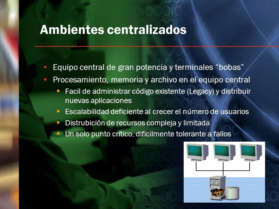 Ambientes centralizados Equipo central de gran potencia y terminales bobas Procesamiento, memoria y archivo en el equipo central Facil de administrar