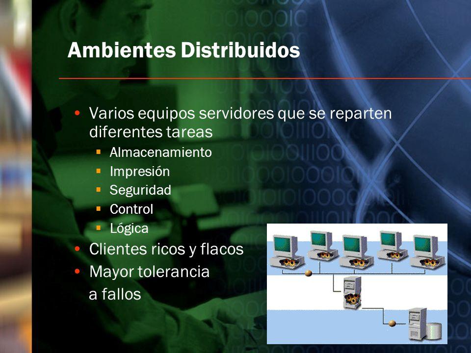 Ambientes Distribuidos Varios equipos servidores que se reparten diferentes tareas Almacenamiento Impresión Seguridad Control Lógica Clientes ricos y