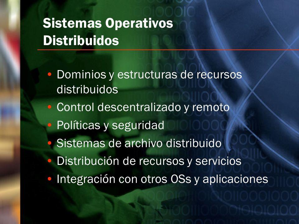 Sistemas Operativos Distribuidos Dominios y estructuras de recursos distribuidos Control descentralizado y remoto Políticas y seguridad Sistemas de ar