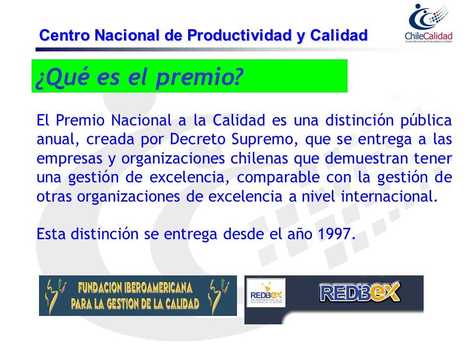 ¿Qué es el premio? Centro Nacional de Productividad y Calidad El Premio Nacional a la Calidad es una distinción pública anual, creada por Decreto Supr