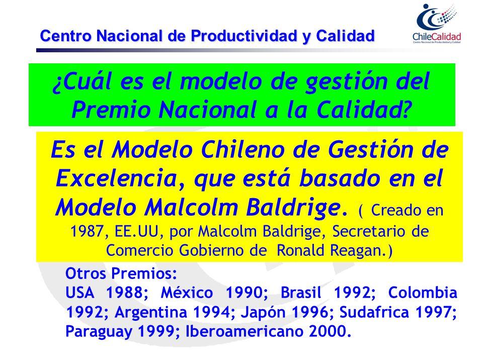 ¿Cuál es el modelo de gestión del Premio Nacional a la Calidad? Es el Modelo Chileno de Gestión de Excelencia, que está basado en el Modelo Malcolm Ba