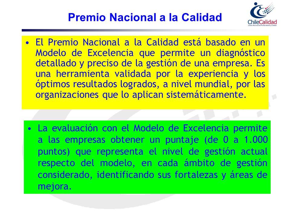 Premio Nacional a la Calidad El Premio Nacional a la Calidad está basado en un Modelo de Excelencia que permite un diagnóstico detallado y preciso de