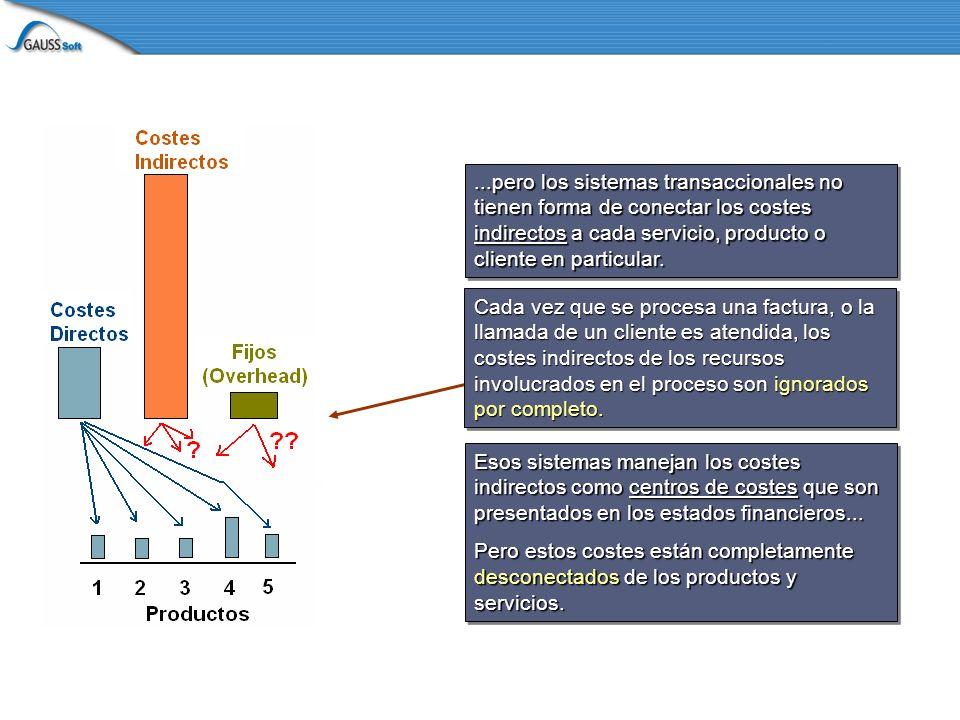 ...pero los sistemas transaccionales no tienen forma de conectar los costes indirectos a cada servicio, producto o cliente en particular.