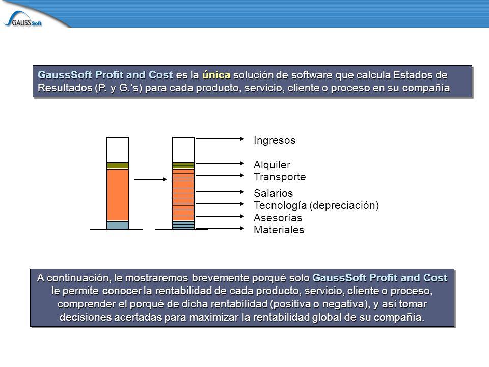 GaussSoft Profit and Cost es la única solución de software que calcula Estados de Resultados (P.
