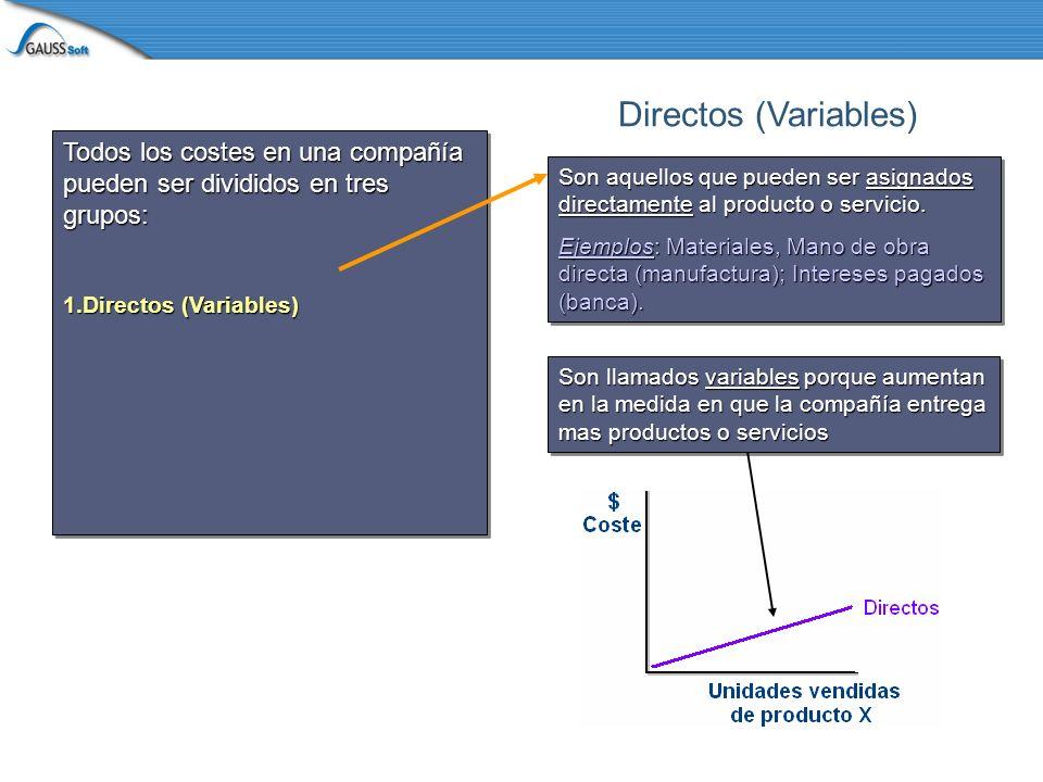 Todos los costes en una compañía pueden ser divididos en tres grupos: 1.Directos (Variables) 2.Indirectos (Step variable) Todos los costes en una compañía pueden ser divididos en tres grupos: 1.Directos (Variables) 2.Indirectos (Step variable) No pueden ser asignados directamente a un producto o servicio, pero se incrementan en escalones a medida que el número de productos o servicios aumenta.