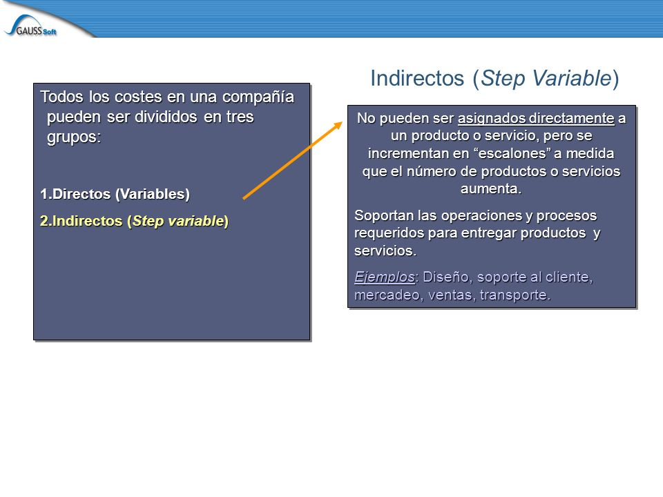 Todos los costes en una compañía pueden ser divididos en tres grupos: 1.Directos (Variables) 2.Indirectos (Step variable) Todos los costes en una compañía pueden ser divididos en tres grupos: 1.Directos (Variables) 2.Indirectos (Step variable) Si usted incrementa sus llamadas de soporte al cliente de 1,000 a 1,010, los costes totales son iguales.