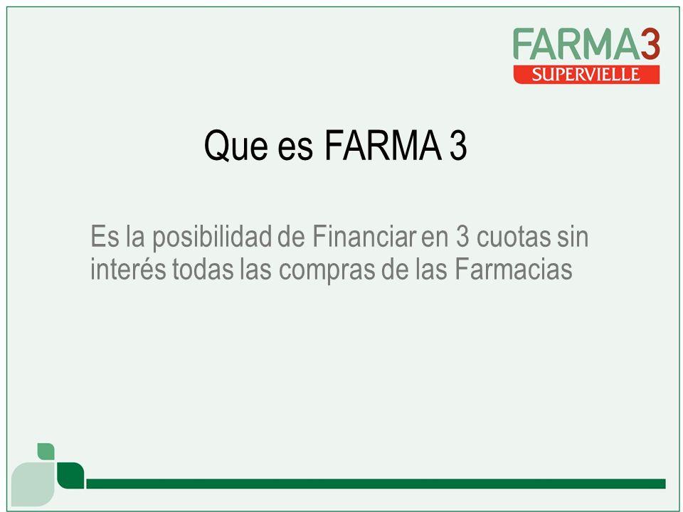 Es la posibilidad de Financiar en 3 cuotas sin interés todas las compras de las Farmacias Que es FARMA 3
