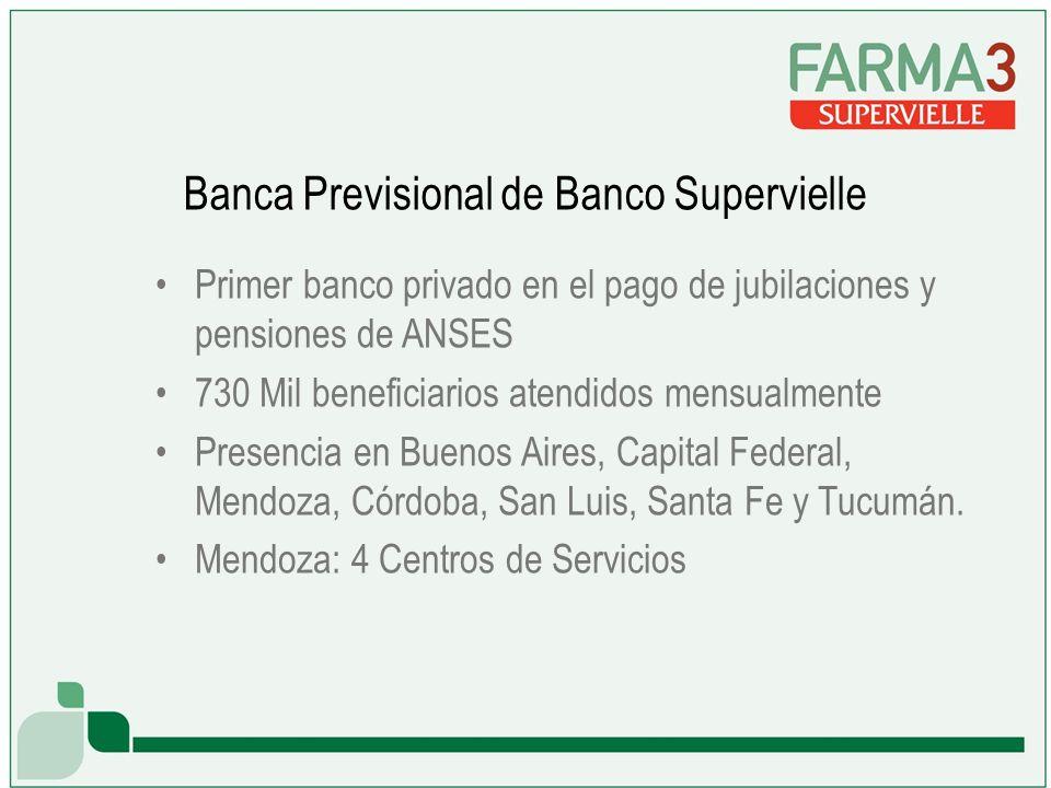 Banca Previsional de Banco Supervielle Primer banco privado en el pago de jubilaciones y pensiones de ANSES 730 Mil beneficiarios atendidos mensualmente Presencia en Buenos Aires, Capital Federal, Mendoza, Córdoba, San Luis, Santa Fe y Tucumán.