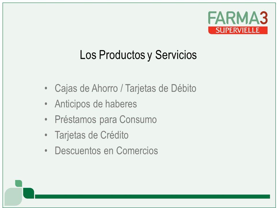 Los Productos y Servicios Cajas de Ahorro / Tarjetas de Débito Anticipos de haberes Préstamos para Consumo Tarjetas de Crédito Descuentos en Comercios