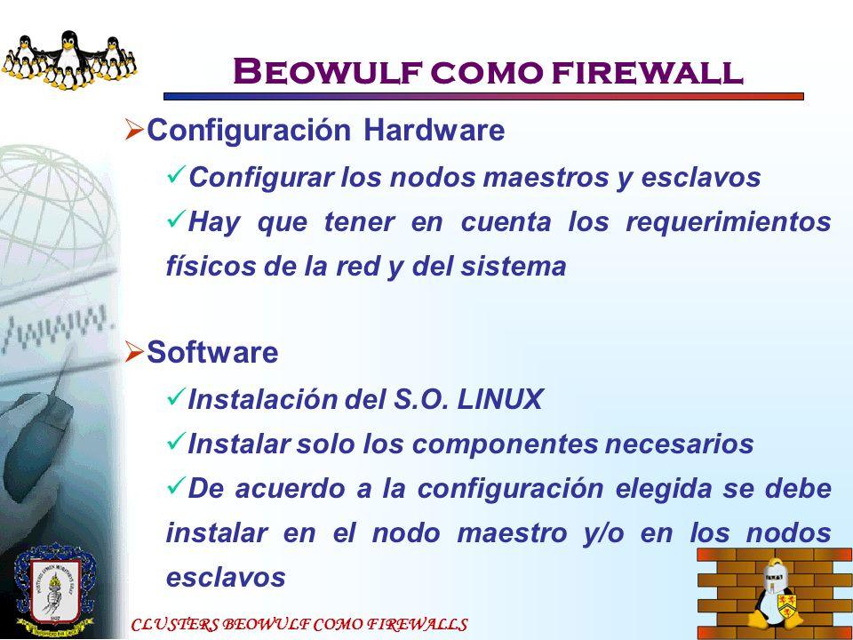 CLUSTERS BEOWULF COMO FIREWALLS Beowulf como firewall Configuración Hardware Configurar los nodos maestros y esclavos Hay que tener en cuenta los requ