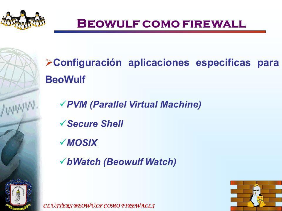 CLUSTERS BEOWULF COMO FIREWALLS Beowulf como firewall Configuración aplicaciones especificas para BeoWulf PVM (Parallel Virtual Machine) Secure Shell