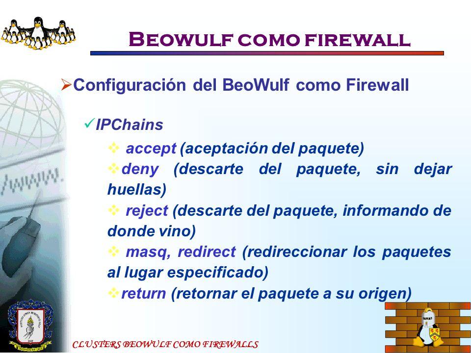 CLUSTERS BEOWULF COMO FIREWALLS Beowulf como firewall Configuración del BeoWulf como Firewall IPChains accept (aceptación del paquete) deny (descarte