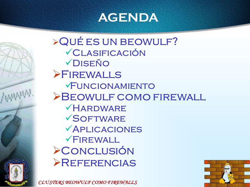 CLUSTERS BEOWULF COMO FIREWALLS AGENDA Qué es un beowulf.