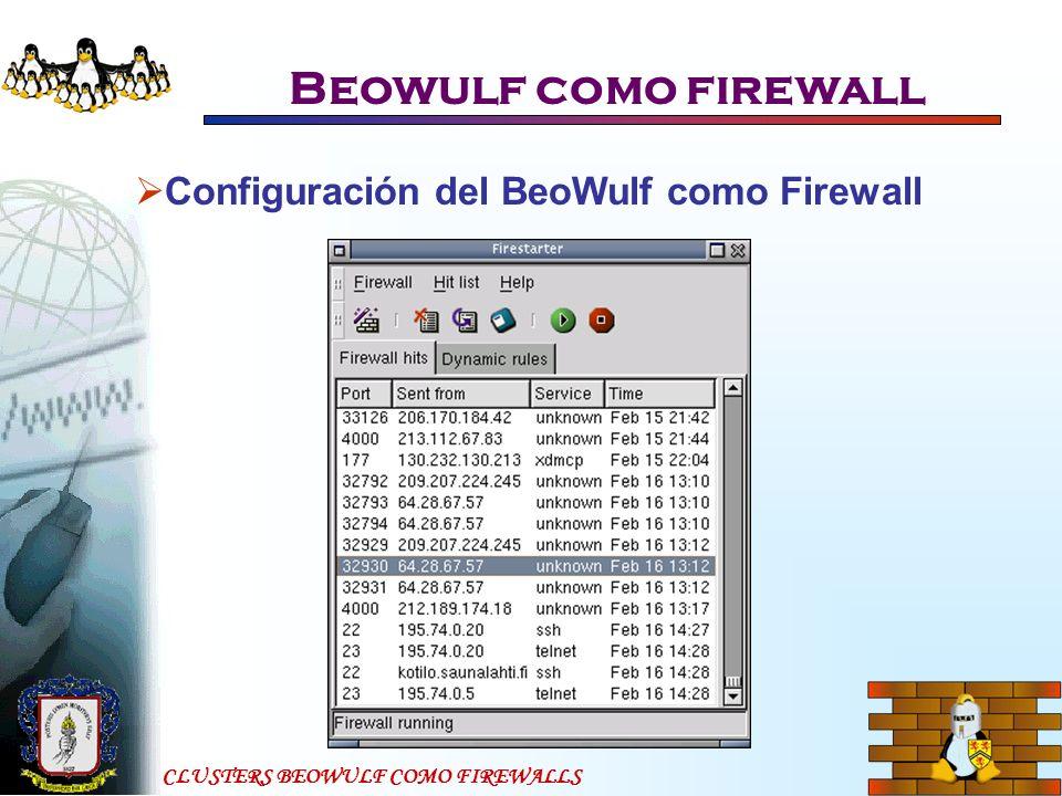 CLUSTERS BEOWULF COMO FIREWALLS Beowulf como firewall Configuración del BeoWulf como Firewall