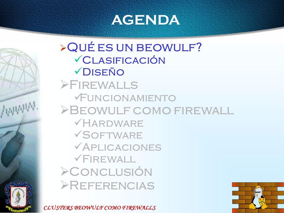 CLUSTERS BEOWULF COMO FIREWALLS Referencias http://beowulf.org http://beowulf.gsfc.nasa.gov/ http://www.insflug.org/ http://swift.lanl.gov/avalon/ http://www.nas.nasa.gov/Software/NPB http://www.linux.org.ar/AULA/biblioteca/tecnicos/firewalls/ http://segurinet.com/gsal http://www.linuxspain.org/docs/manuales