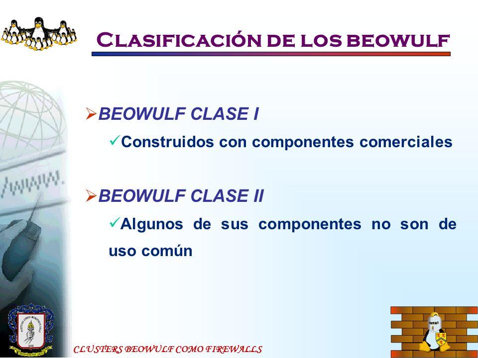 CLUSTERS BEOWULF COMO FIREWALLS Beowulf como firewall Configuración del BeoWulf como Firewall IPChains accept (aceptación del paquete) deny (descarte del paquete, sin dejar huellas) reject (descarte del paquete, informando de donde vino) masq, redirect (redireccionar los paquetes al lugar especificado) return (retornar el paquete a su origen)
