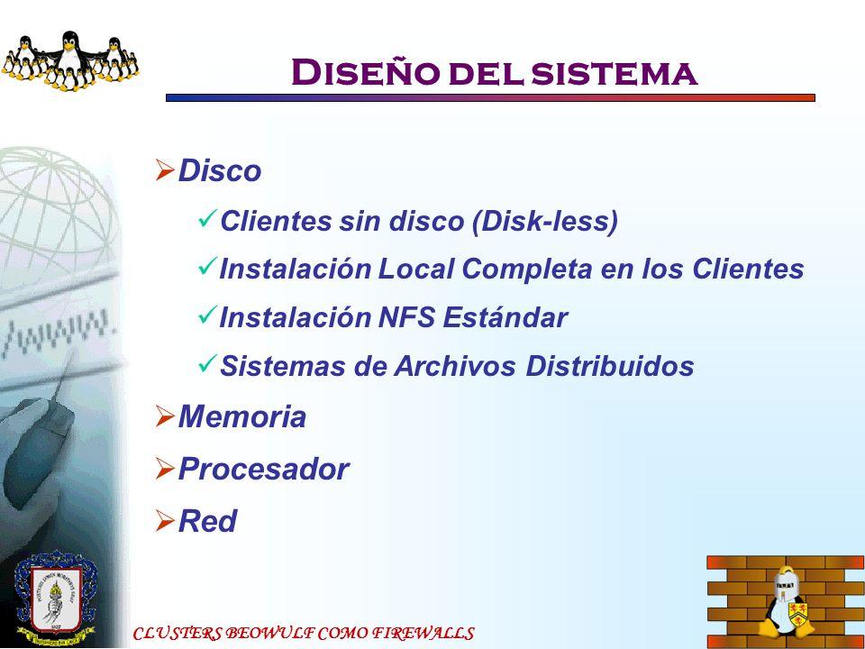 CLUSTERS BEOWULF COMO FIREWALLS Diseño del sistema Disco Clientes sin disco (Disk-less) Instalación Local Completa en los Clientes Instalación NFS Est