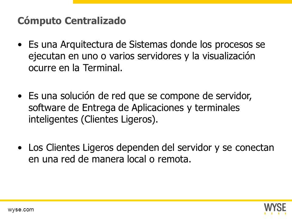 wyse.com Cómputo Centralizado Es una Arquitectura de Sistemas donde los procesos se ejecutan en uno o varios servidores y la visualización ocurre en la Terminal.