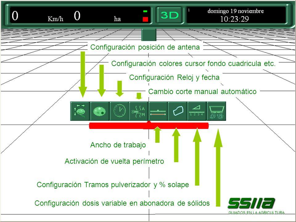Configuración posición de antena Configuración colores cursor fondo cuadricula etc.