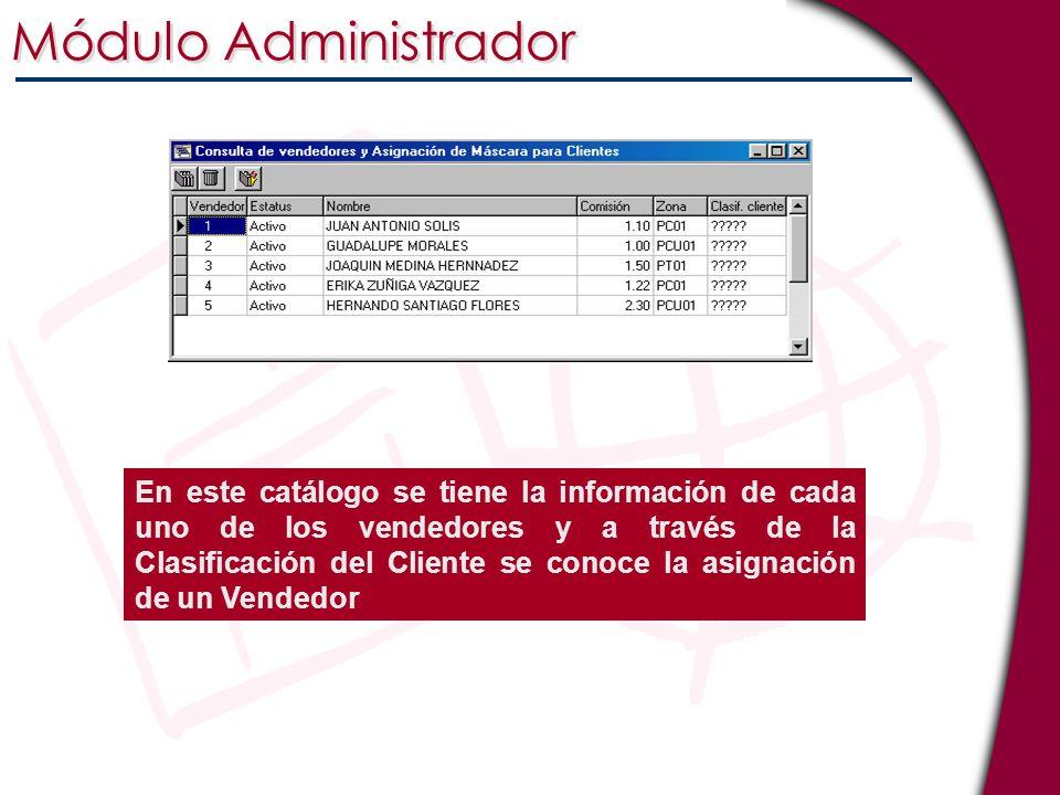 Módulo Administrador En este catálogo se tiene la información de cada uno de los vendedores y a través de la Clasificación del Cliente se conoce la as