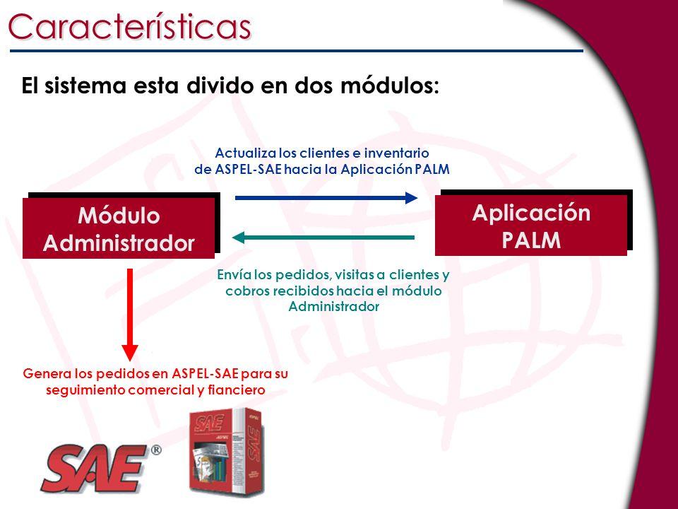 Características El sistema esta divido en dos módulos: Módulo Administrador Aplicación PALM Actualiza los clientes e inventario de ASPEL-SAE hacia la