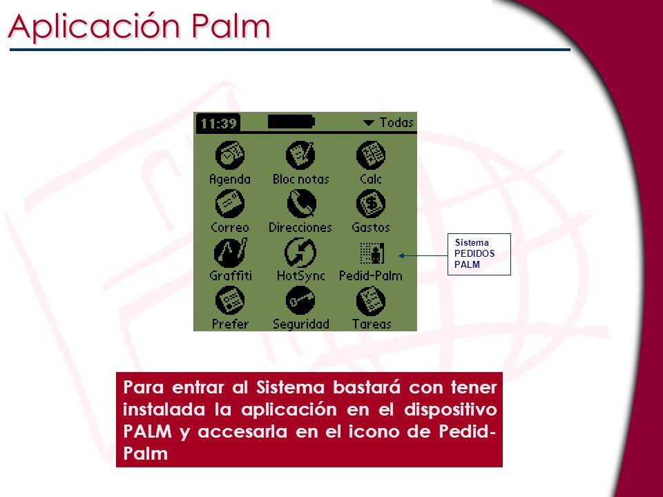 Para entrar al Sistema bastará con tener instalada la aplicación en el dispositivo PALM y accesarla en el icono de Pedid- Palm Aplicación Palm Sistema
