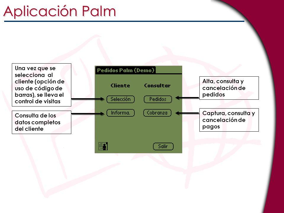 Aplicación Palm Una vez que se selecciona al cliente (opción de uso de código de barras), se lleva el control de visitas Consulta de los datos complet