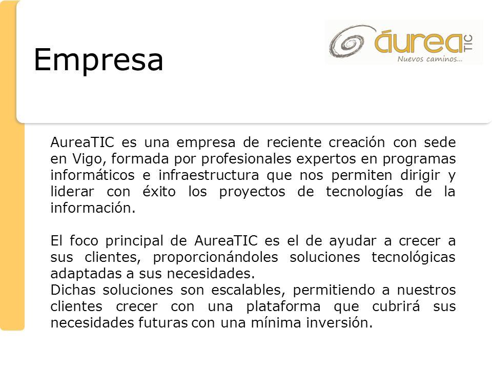 Empresa AureaTIC es una empresa de reciente creación con sede en Vigo, formada por profesionales expertos en programas informáticos e infraestructura
