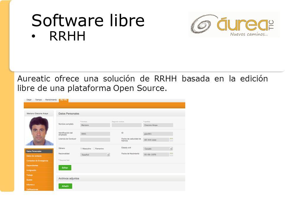 Aureatic ofrece una solución de RRHH basada en la edición libre de una plataforma Open Source. Software libre RRHH