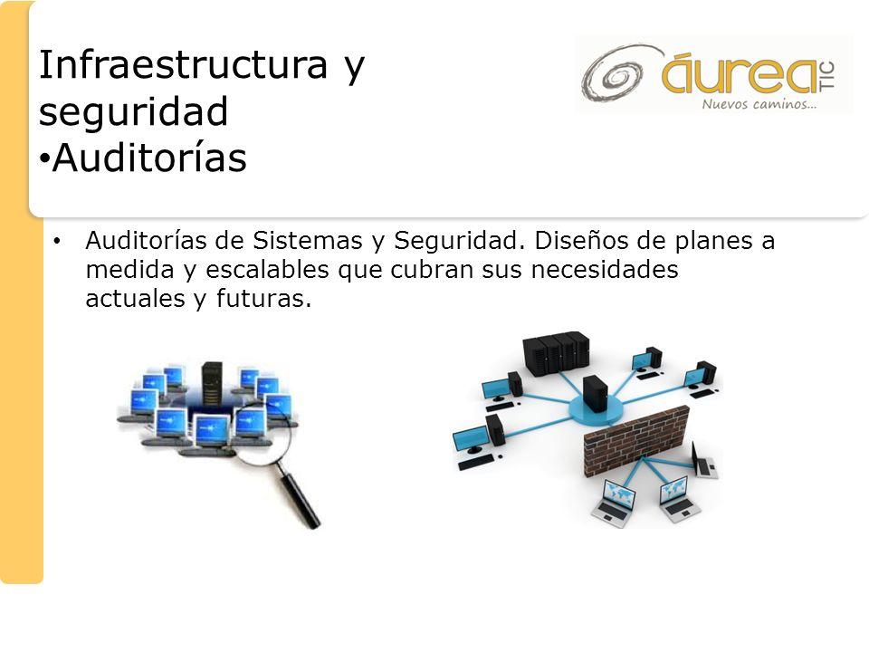 Auditorías de Sistemas y Seguridad. Diseños de planes a medida y escalables que cubran sus necesidades actuales y futuras. Infraestructura y seguridad