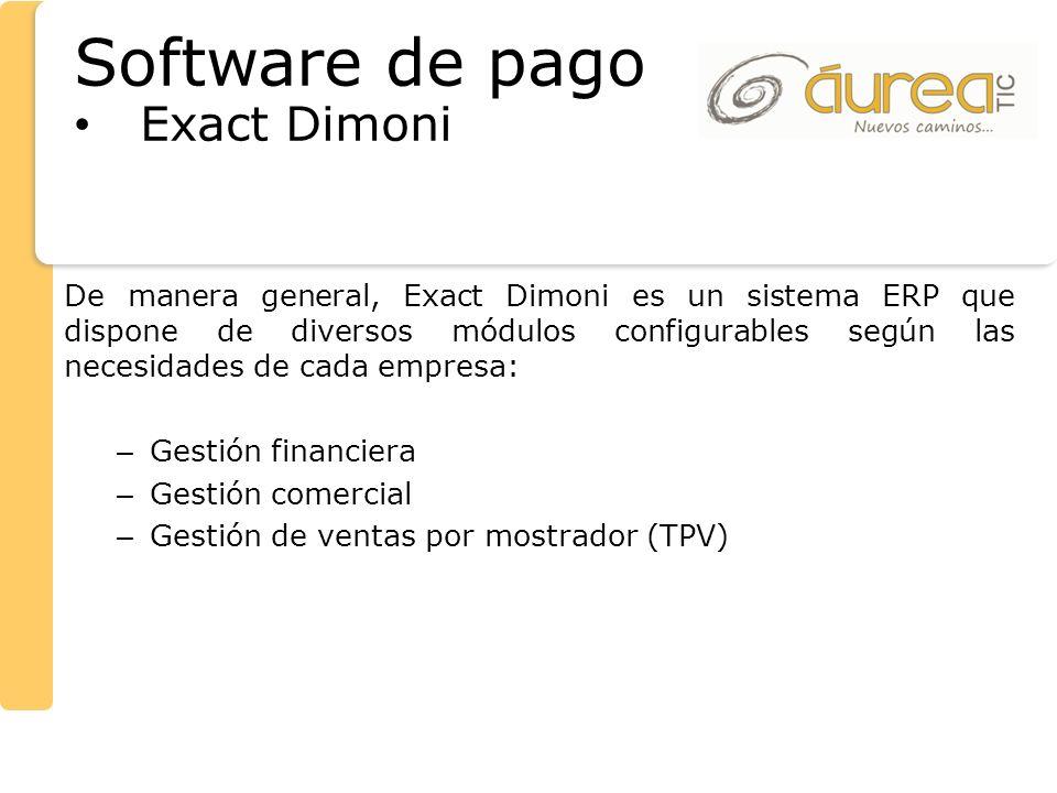 De manera general, Exact Dimoni es un sistema ERP que dispone de diversos módulos configurables según las necesidades de cada empresa: – Gestión finan
