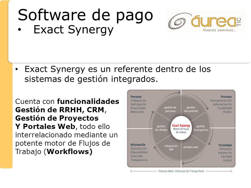 Exact Synergy es un referente dentro de los sistemas de gestión integrados. Cuenta con funcionalidades Gestión de RRHH, CRM, Gestión de Proyectos Y Po