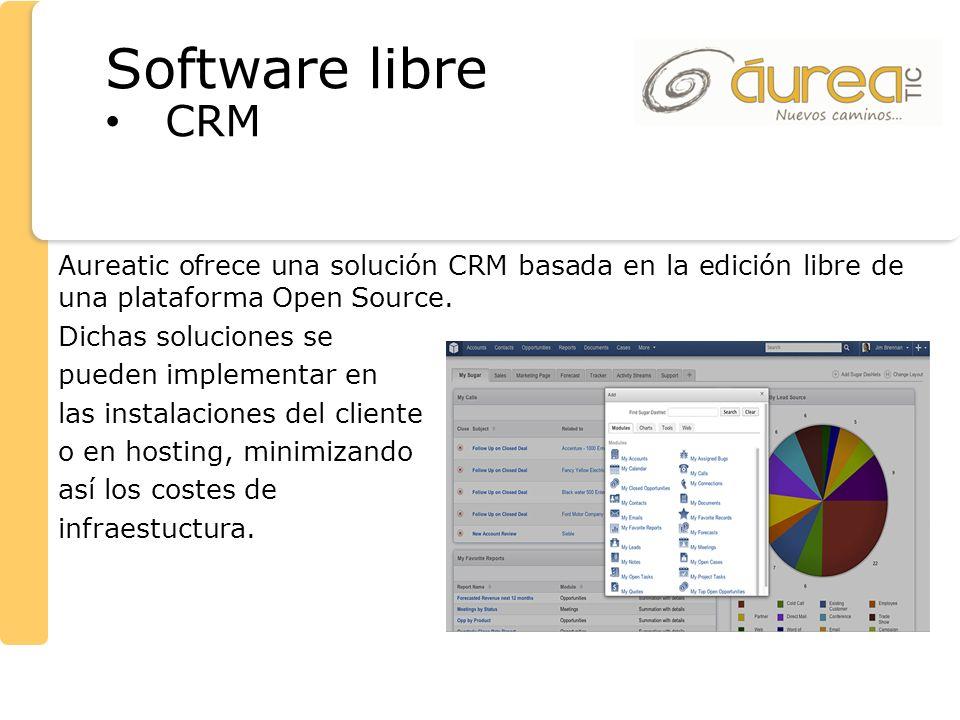 Aureatic ofrece una solución CRM basada en la edición libre de una plataforma Open Source. Dichas soluciones se pueden implementar en las instalacione